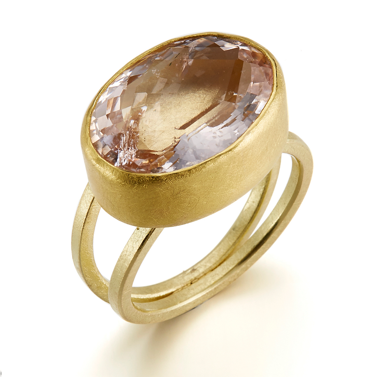 Petra Class Oval Faceted Morganite Ring with Split Band