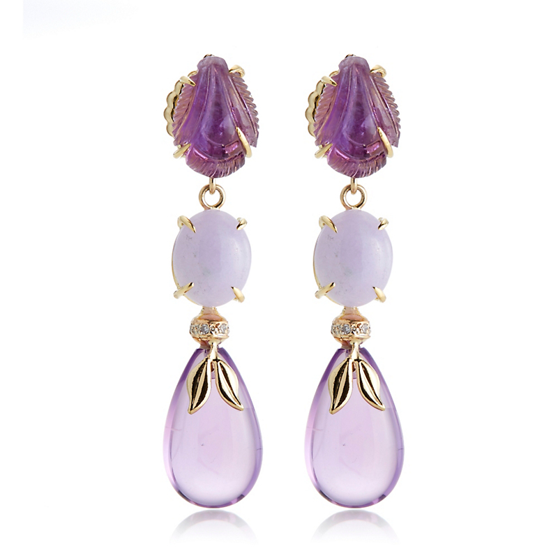 Russell Truss Lavender, Jade, Amethyst & Diamond Drop Earrings