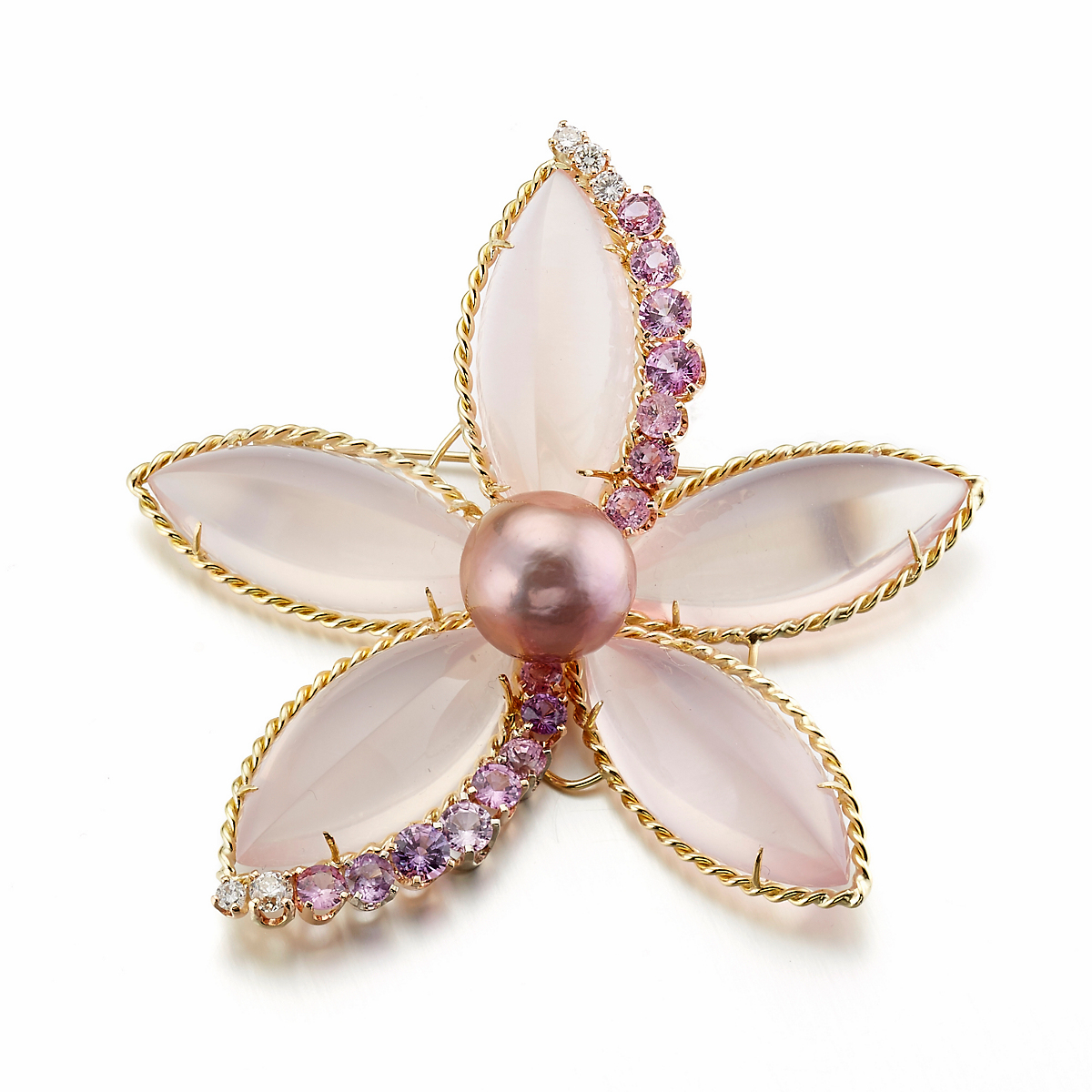 Russell Trusso Rose Quartz, Pink Sapphire & Pearl Flower Brooch