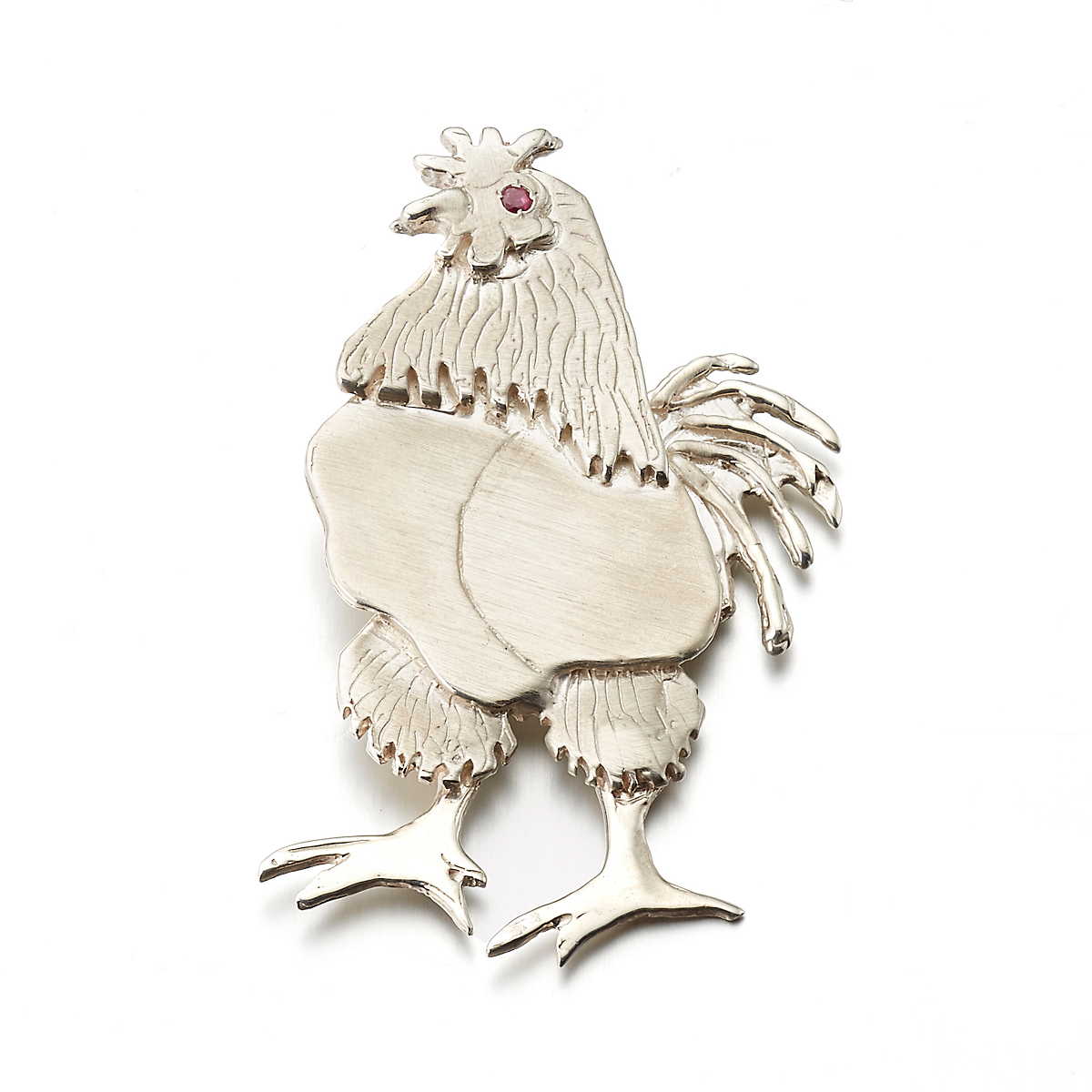 Mia Fonssagrives-Solow Sterling Silver Standing Rooster With Ruby Brooch