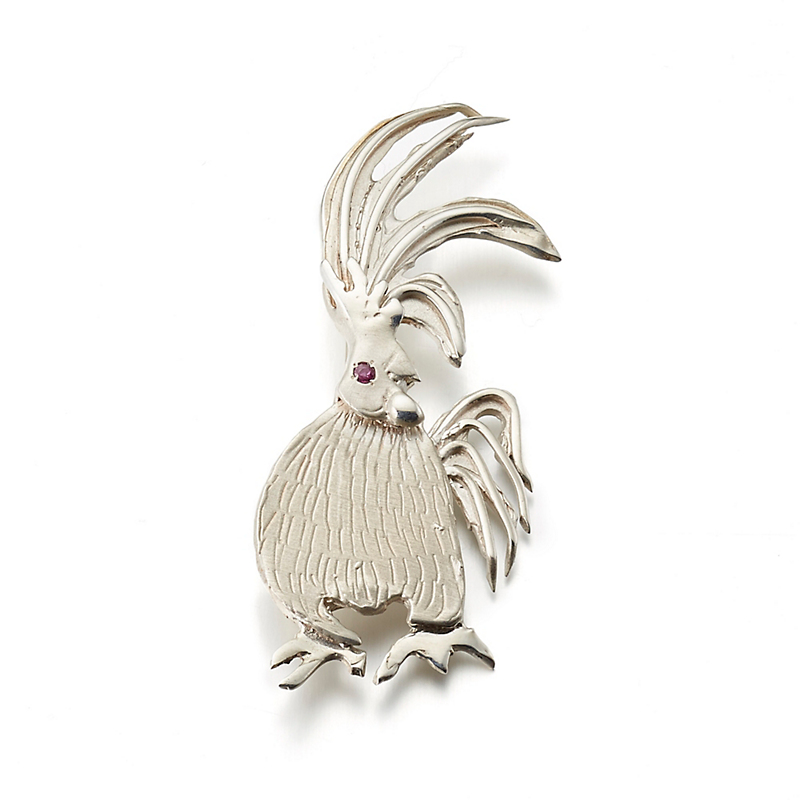 Mia Fonssagrives-Solow Sterling Silver Rooster Plume With Ruby Brooch