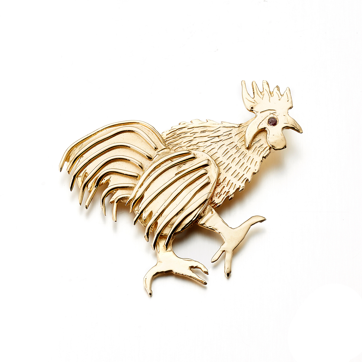 Mia Fonssagrives-Solow Gold Walking Rooster With Ruby Brooch