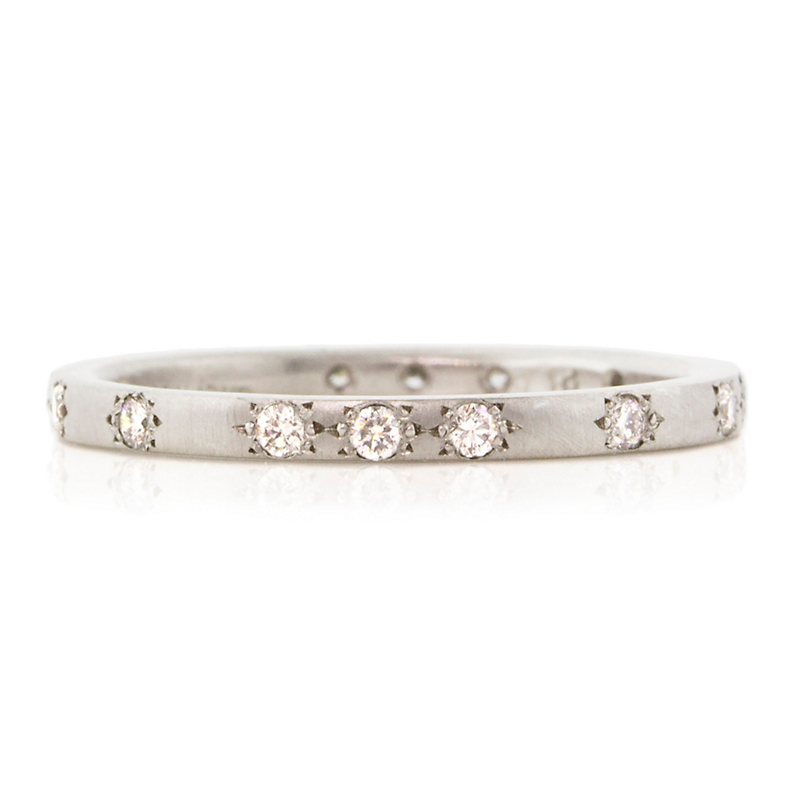 Adel Chefridi Thin Diamond Platinum Band Ring