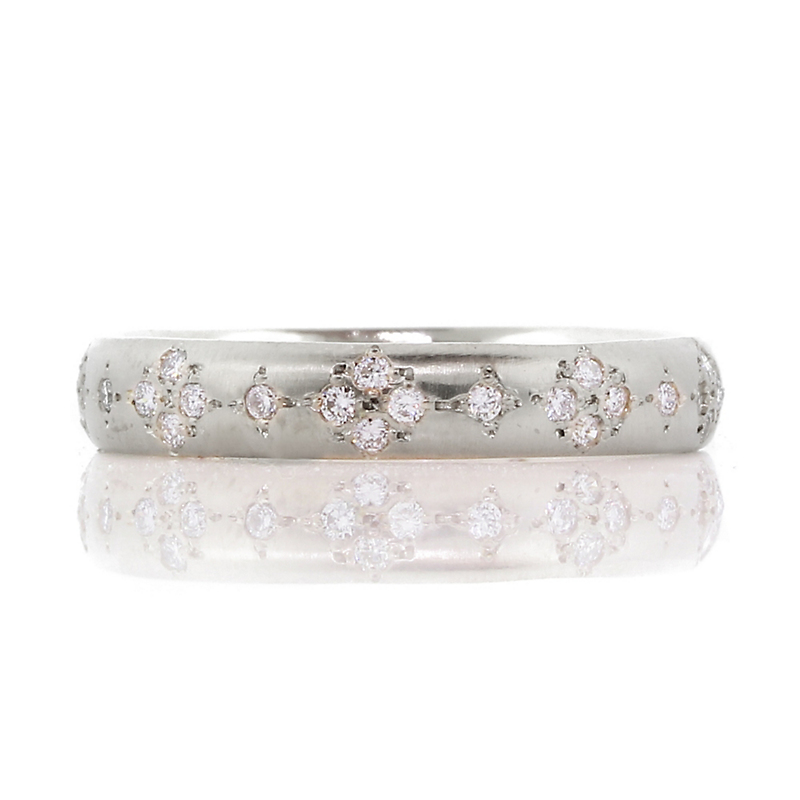 Adel Chefridi Diamond Round Memories Platinum Band Ring