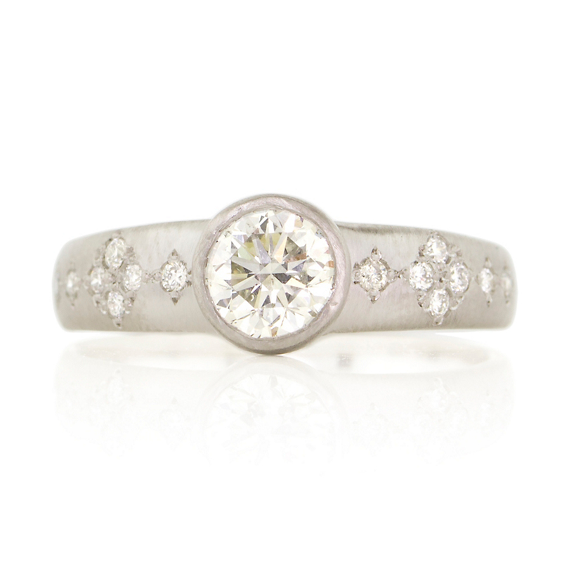 Adel Chefridi Diamond Solitaire Memories Vishinda Platinum Tapered Band Ring