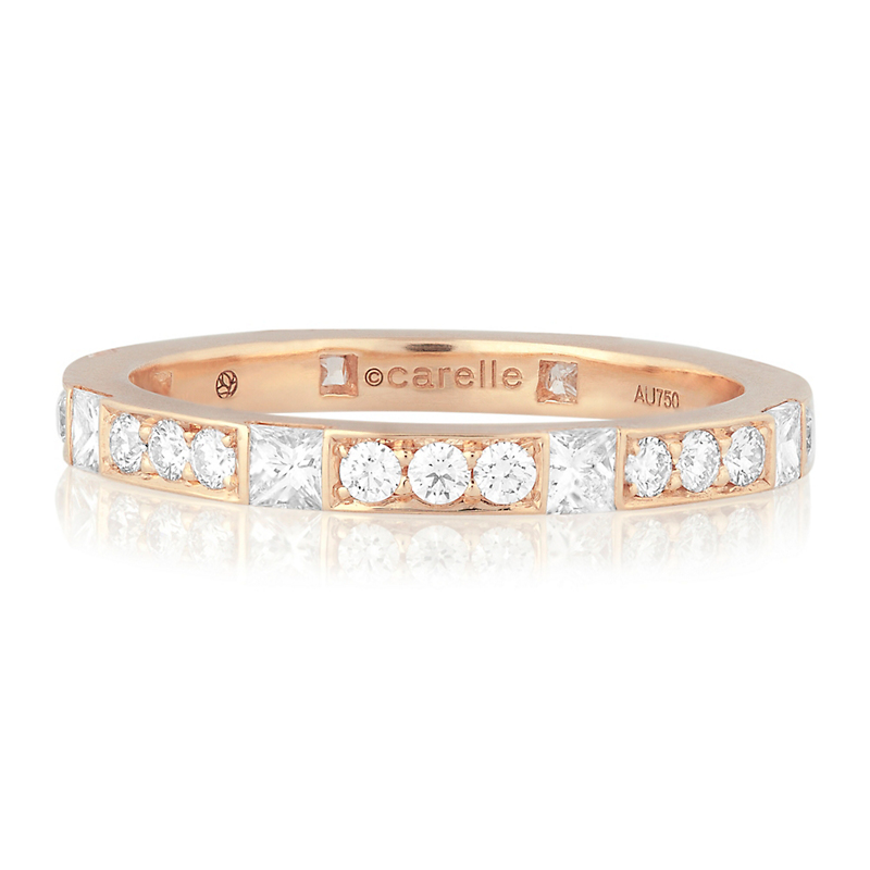 Carelle Pavé Diamond Rose Gold Band Ring
