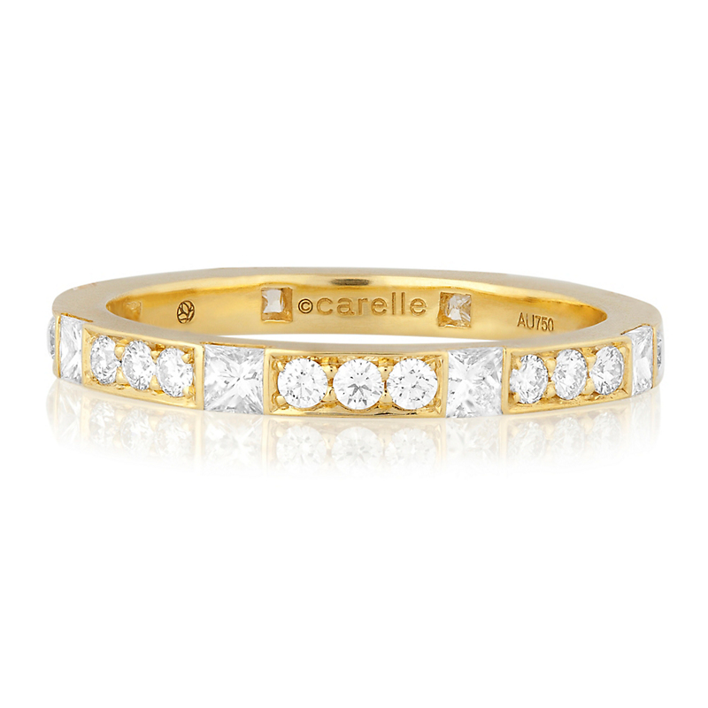 Carelle Pavé Diamond Yellow Gold Band Ring
