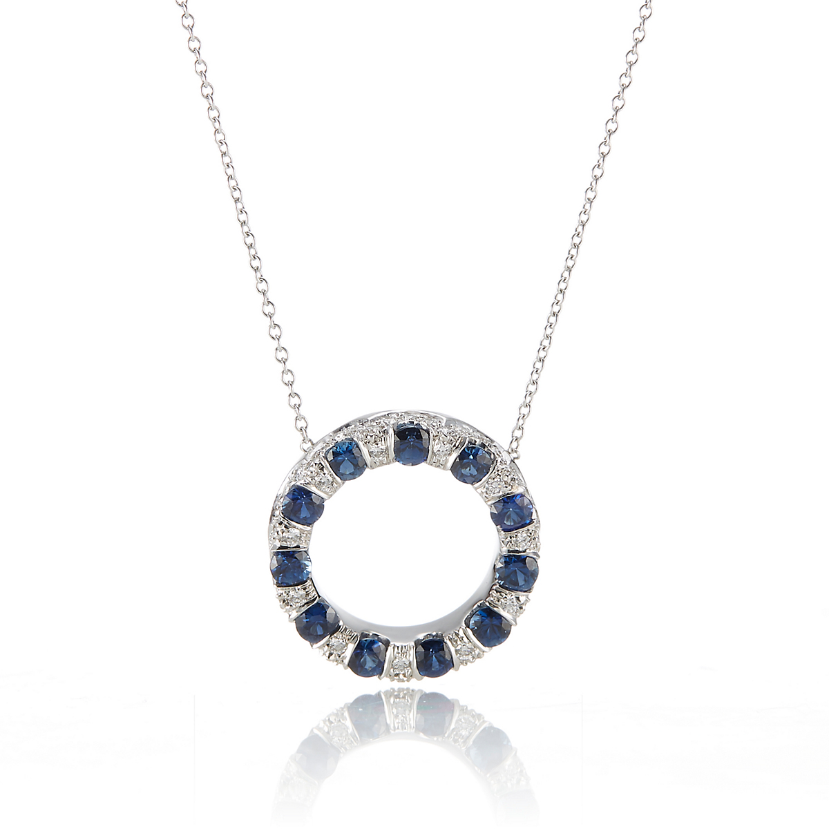 Carelle Diamond & Sapphire Large Circle Carizma Pendant Necklace
