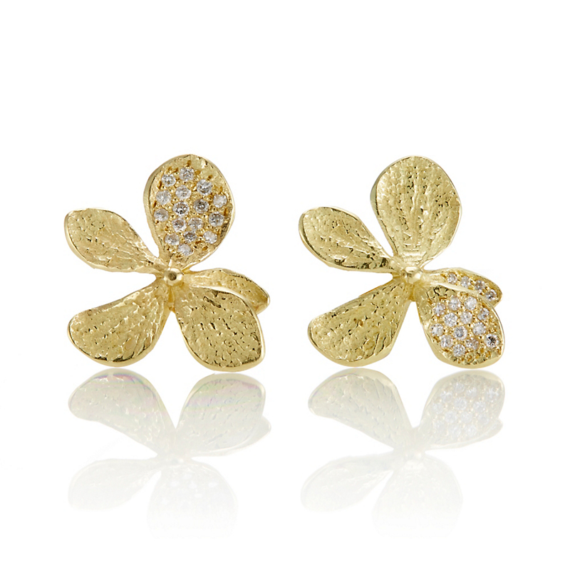 John Iversen Pavé Diamond Hydrangea Earrings