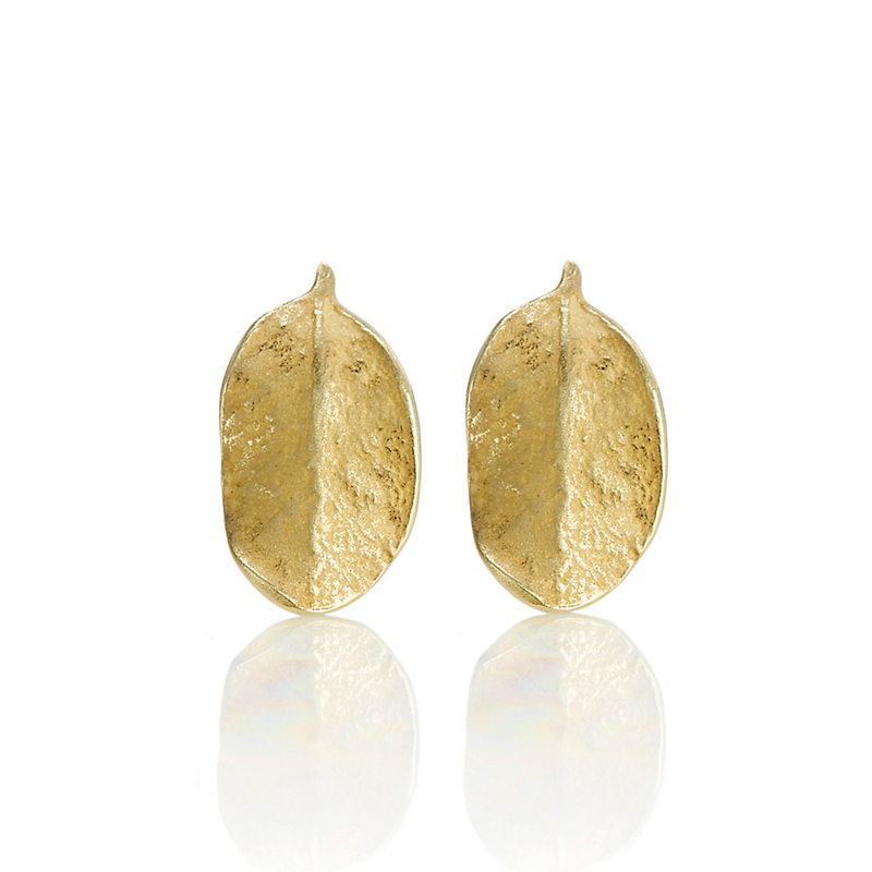 John Iversen Petite Gold Boxwood Leaf Stud Earrings