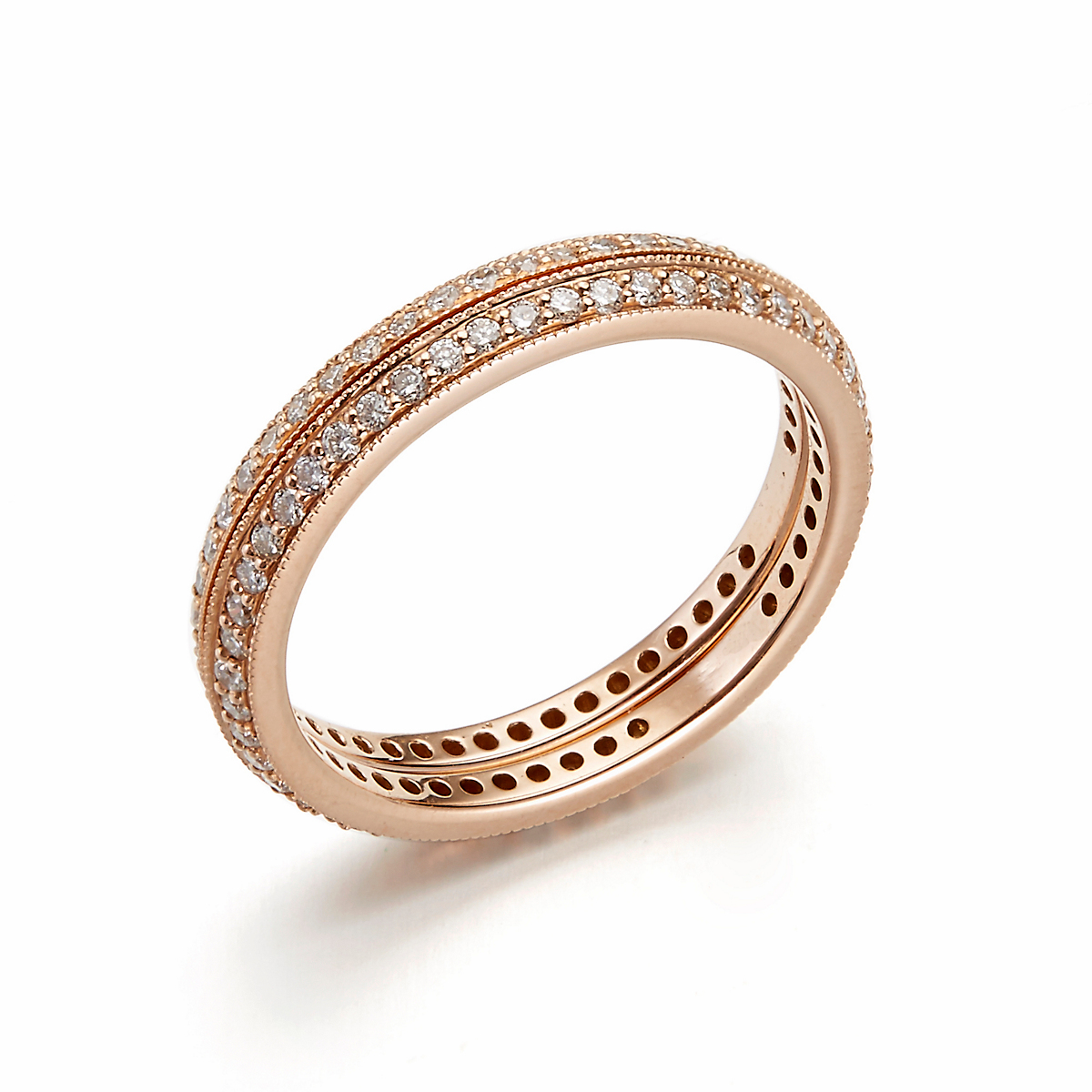 ILA Eve & Zoey Rose Gold Diamond Stacked Rings