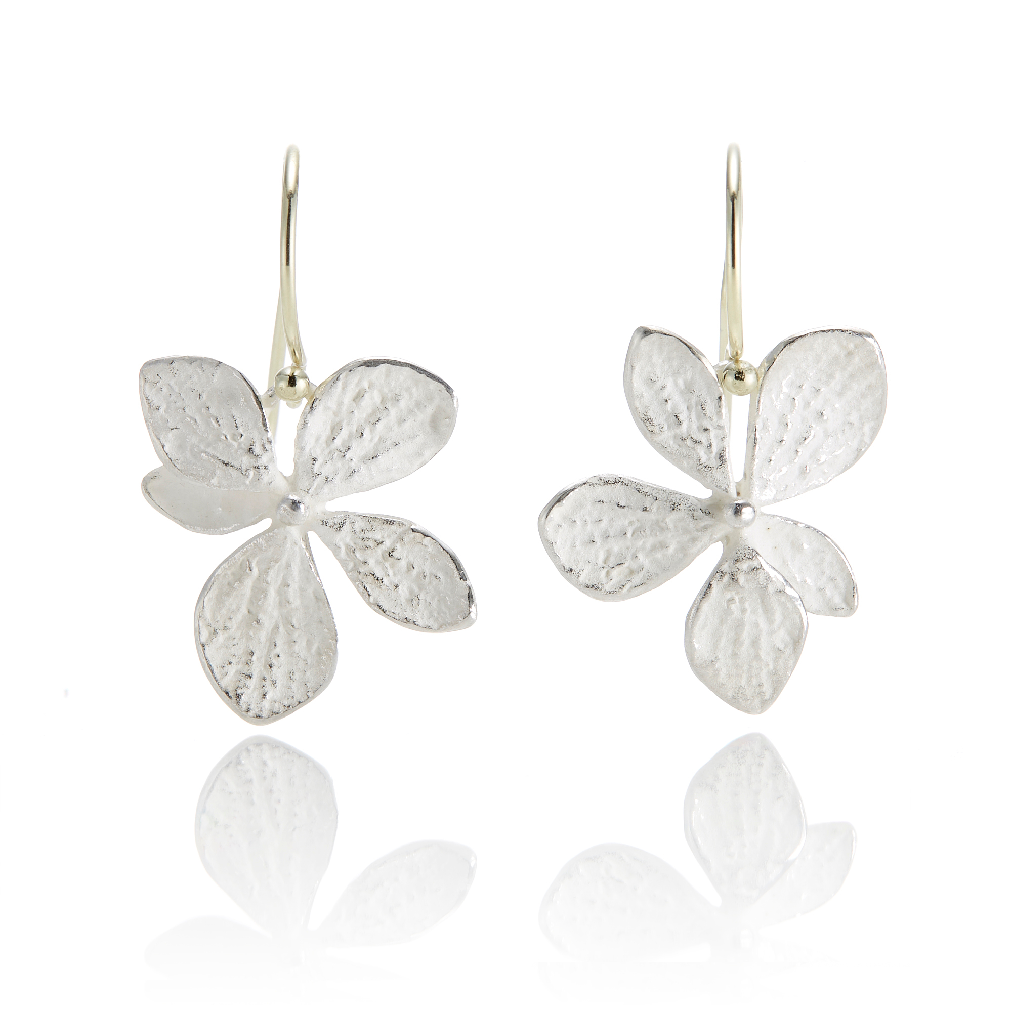 John Iversen Sterling Silver Single Hydrangea Drop Earrings