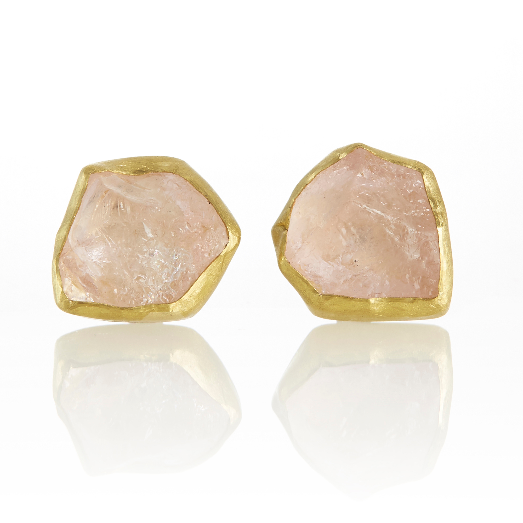 Petra Class Raw Morganite Stud Earrings