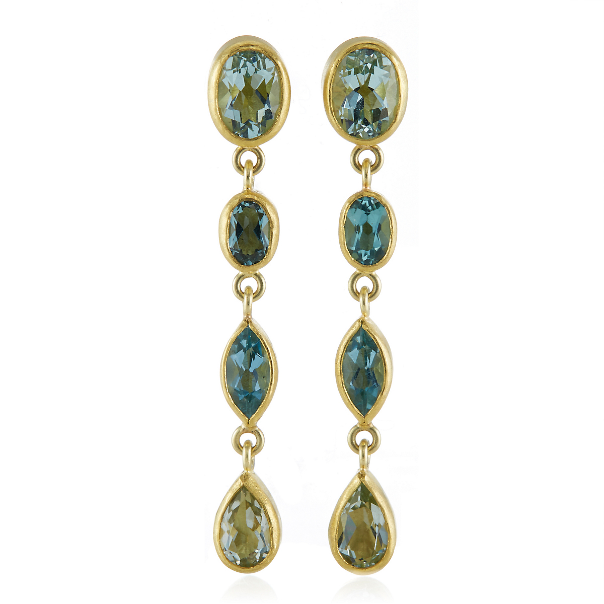 Petra Class Multifaceted Aqua Chain Earrings