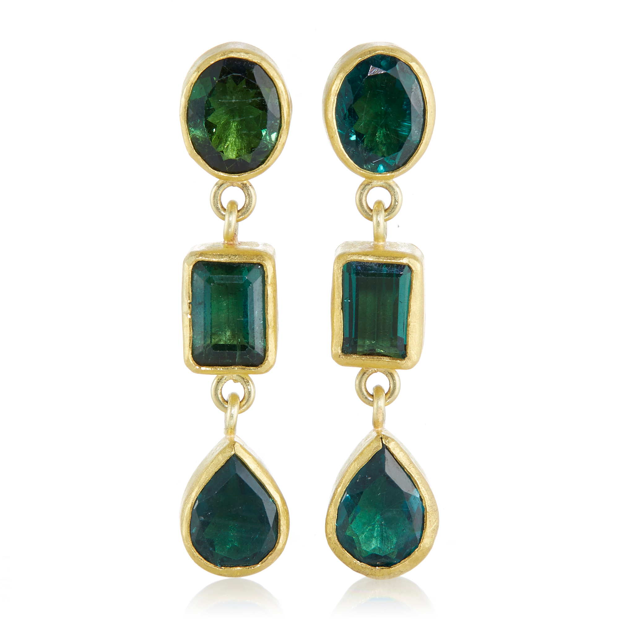 Petra Class Multifaceted Green Tourmaline Earrings