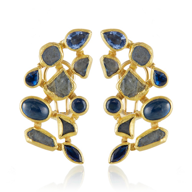 Petra Class Half Moon Multi-Sapphire Earrings
