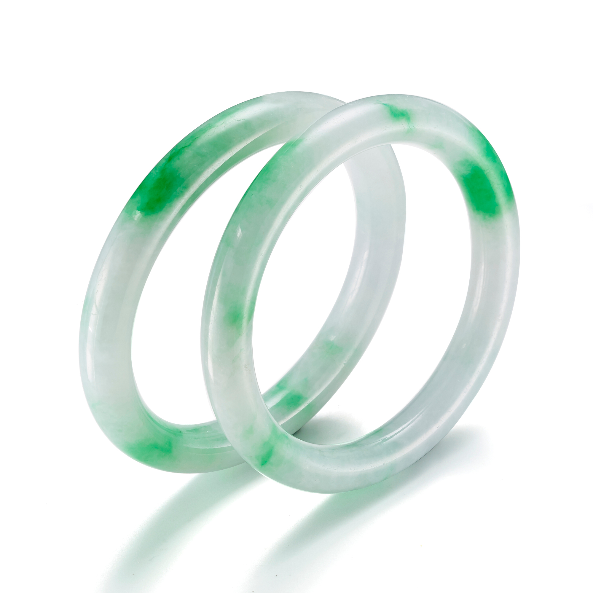 Estate Pair of Translucent White & Bright Apple Green Jadeite Bangles