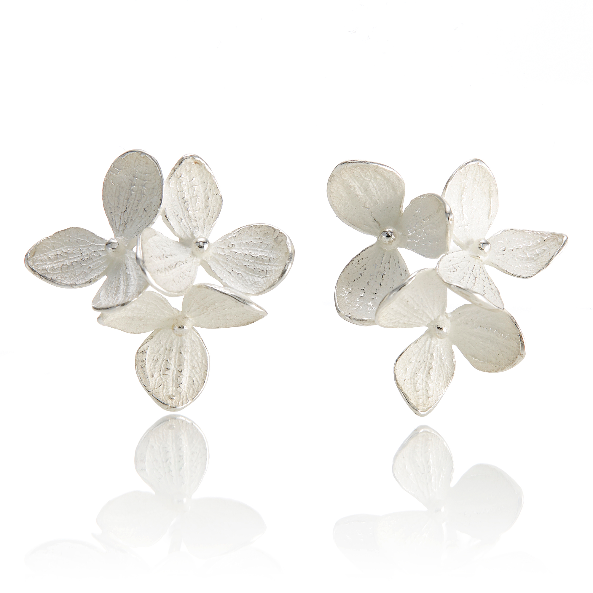 John Iversen Sterling Silver Three Hydrangea Earrings