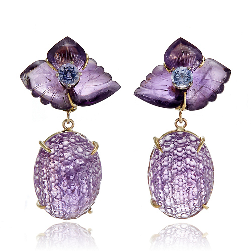 Russell Trusso Carved Amethyst & Sapphire Floral Earrings