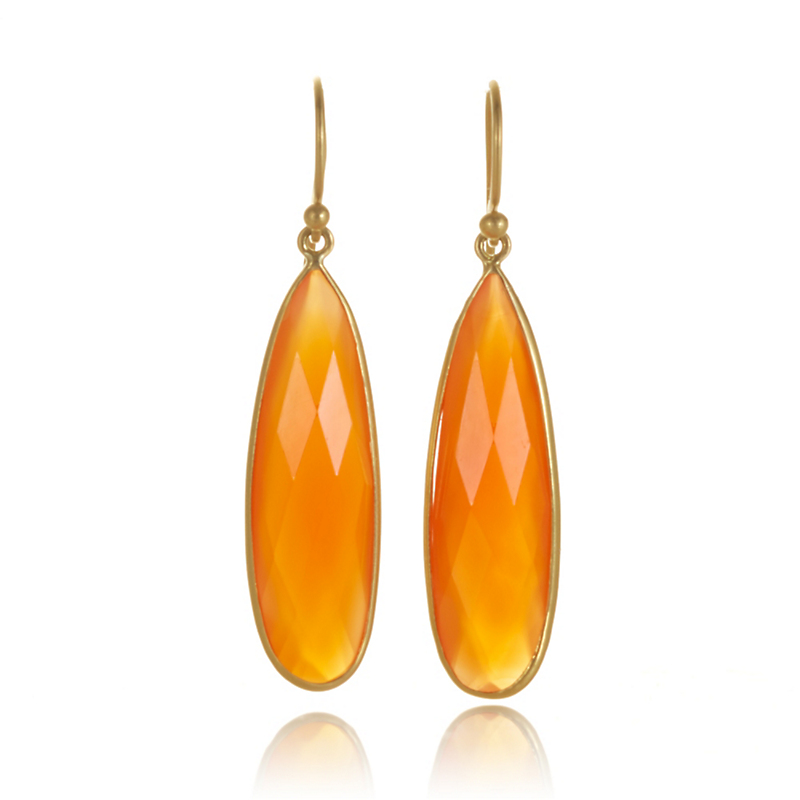 Kothari Faceted Carnelian Teardrop Earrings