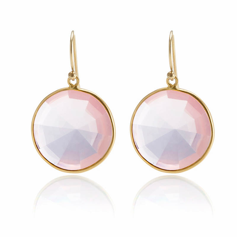 Kothari Round Faceted Rose Quartz Earrings