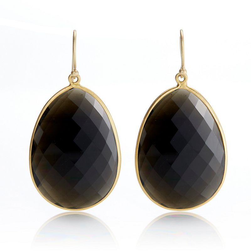 Kothari Faceted Obsidian Slice Drop Earrings