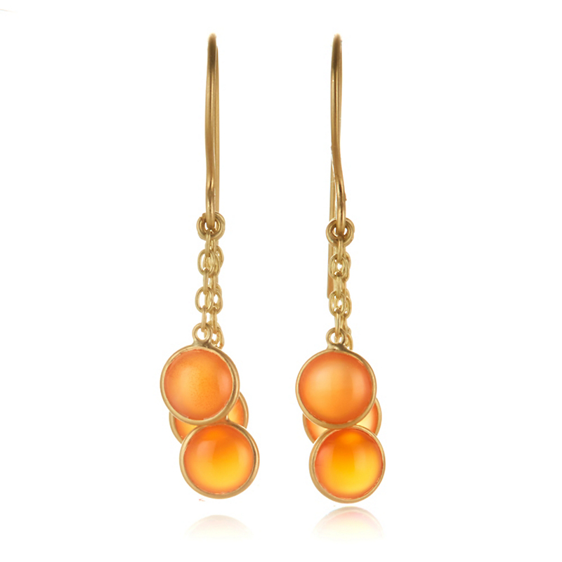 Kothari Carnelian Trio Drop Earrings