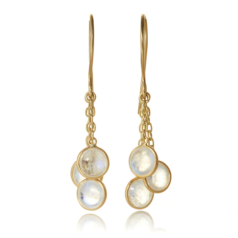 Kothari Rainbow Moonstone Trio Drop Earrings