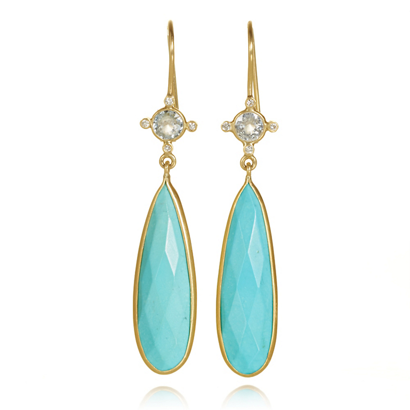 Kothari Sapphire & Faceted Turquoise Teardrop Earrings