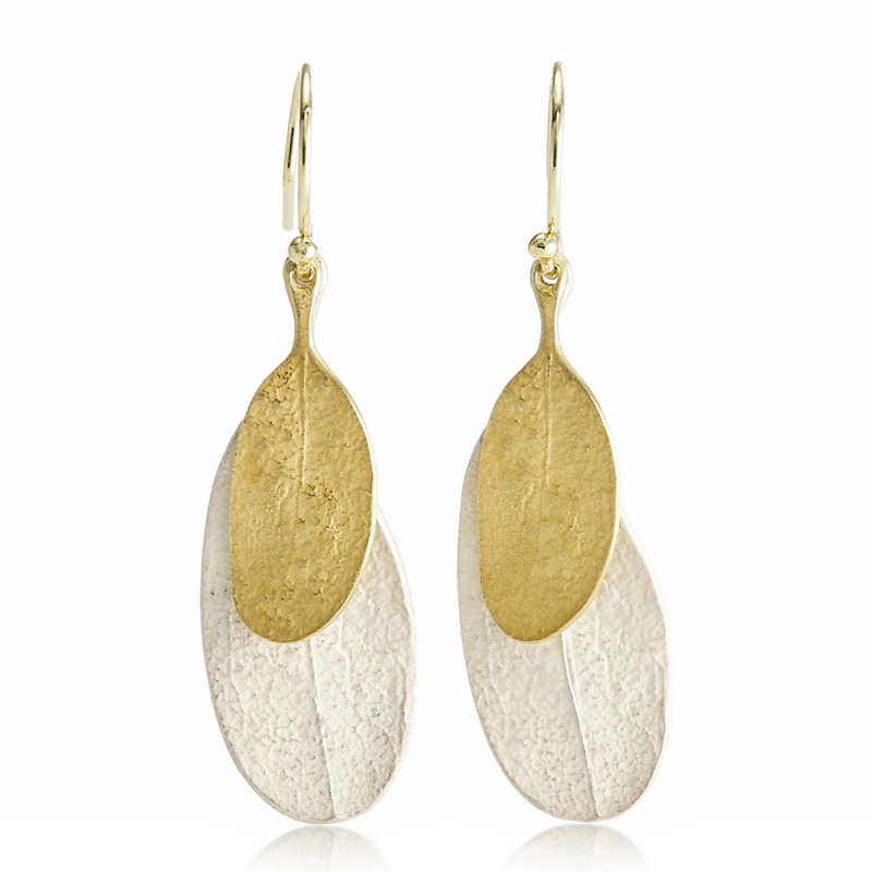 John Iversen Silver & Gold Double Leaf Earrings