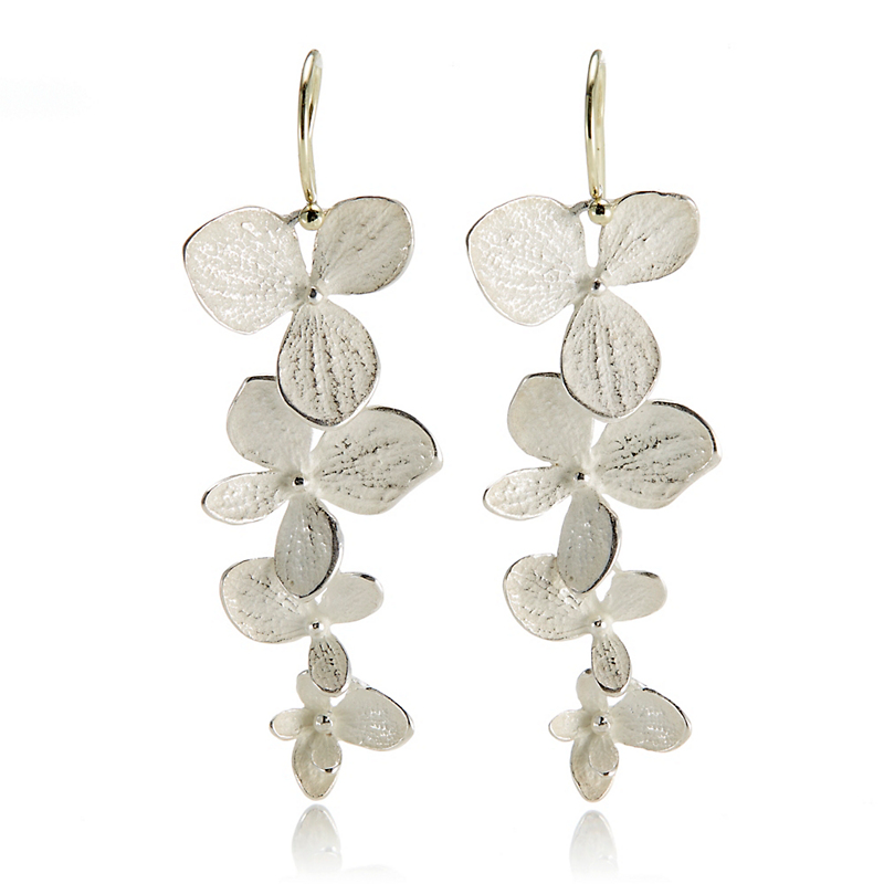 John Iversen Sterling Silver Four Hydrangea Drop Earrings