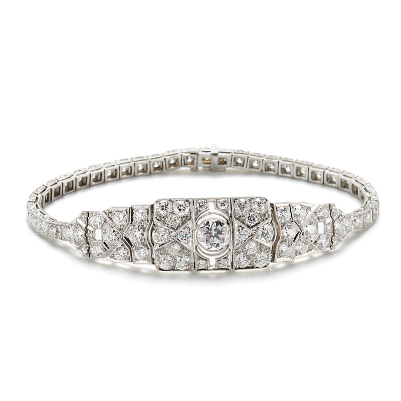 Diamond Chased Art Deco Bracelet