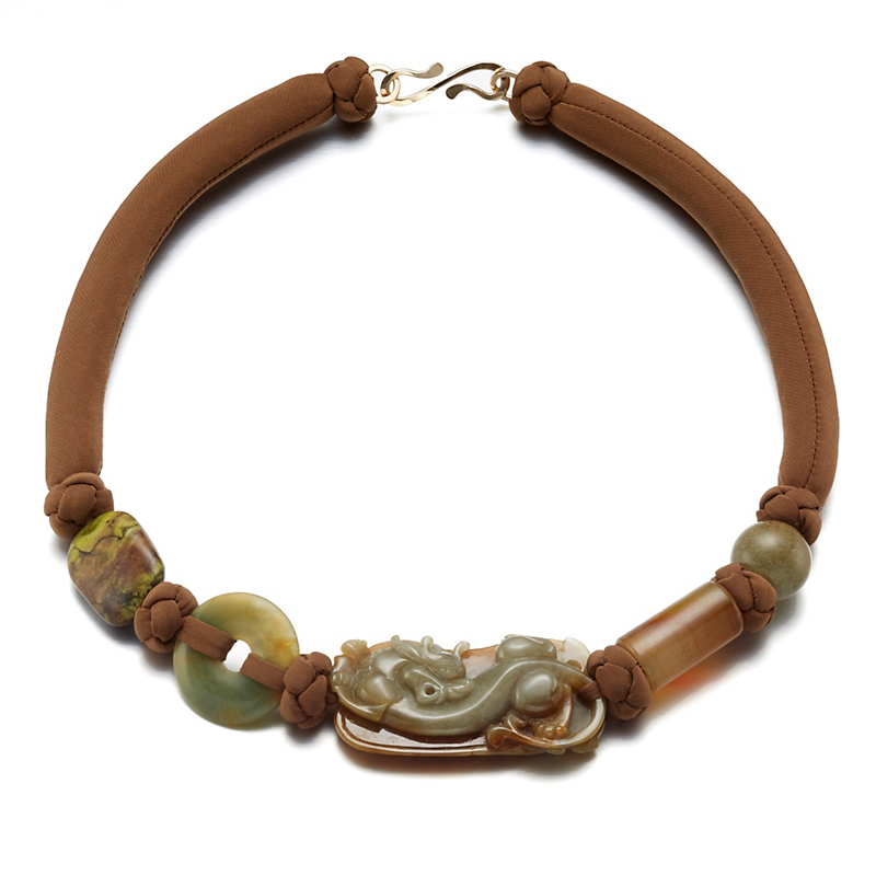 Pat Tseng Brown & Celadon Carved Jadeite Dragon Necklace On Silk Cord