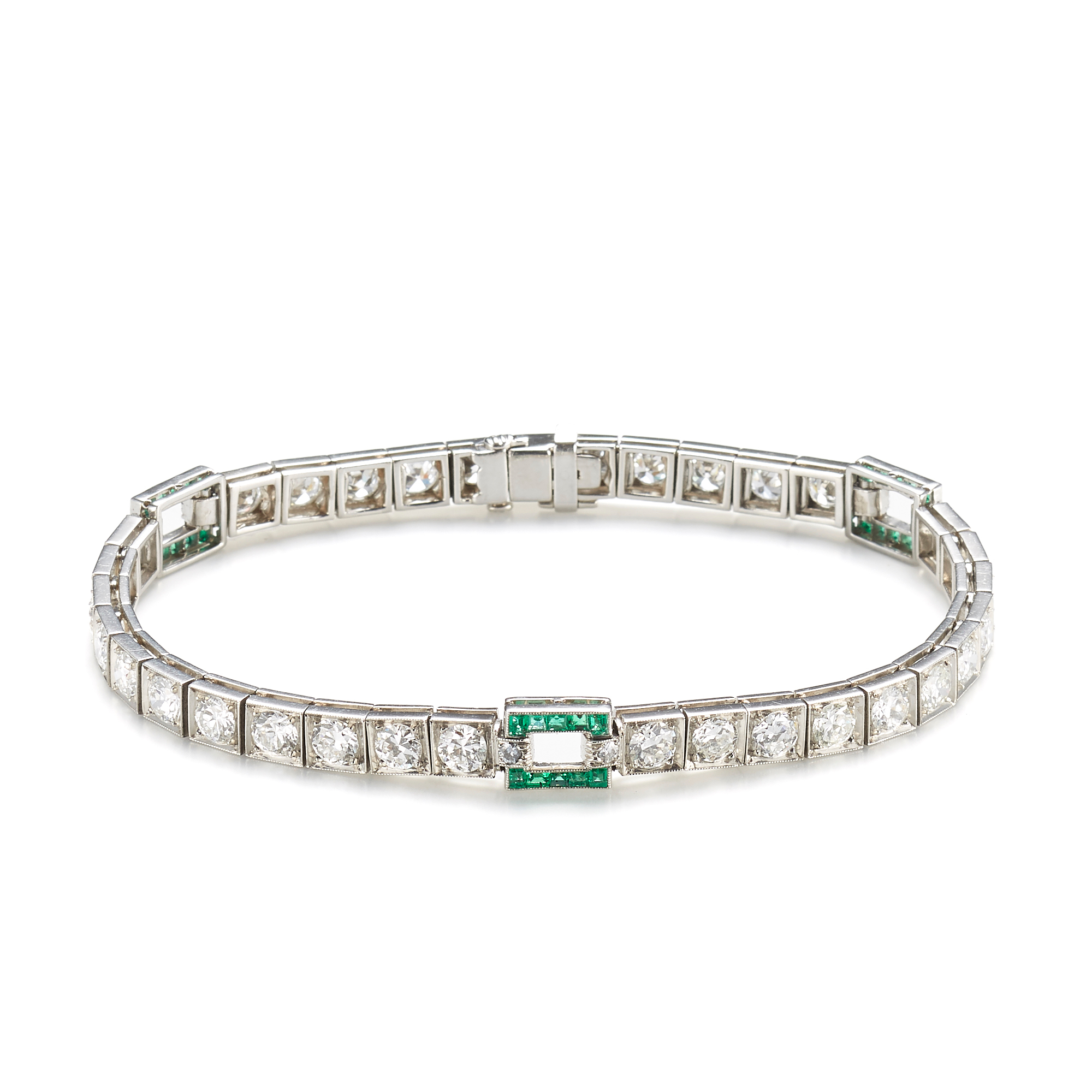 Diamond & Emerald Links Art Deco Bracelet