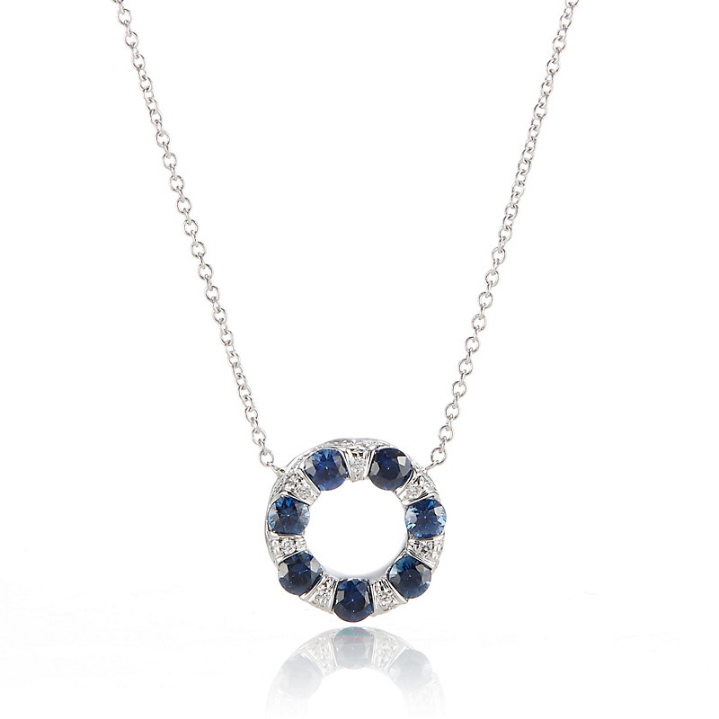 Carelle Diamond & Sapphire Small Circle Carizma Pendant Necklace