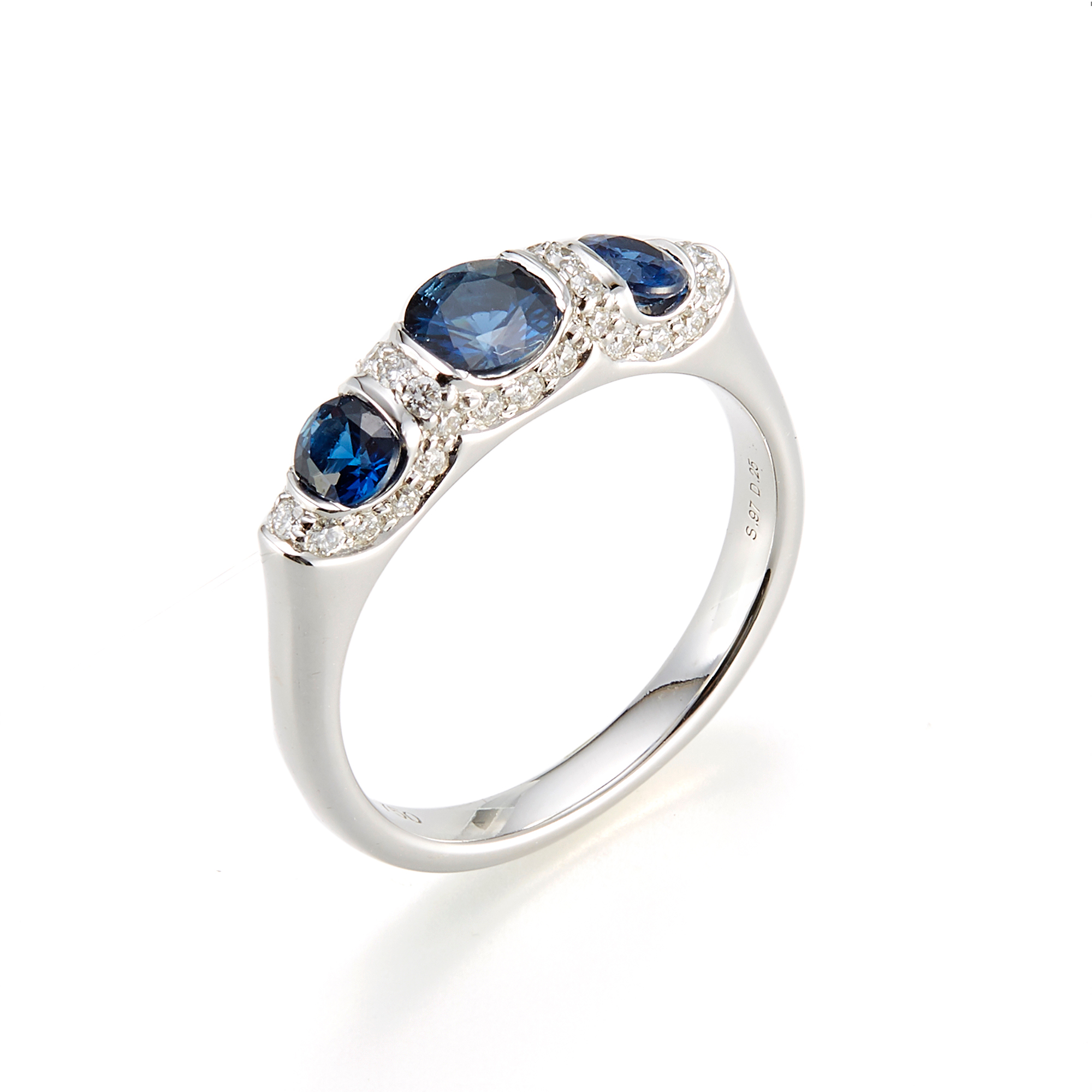 Carelle Three-Stone Sapphire & Diamond Carizma Ring