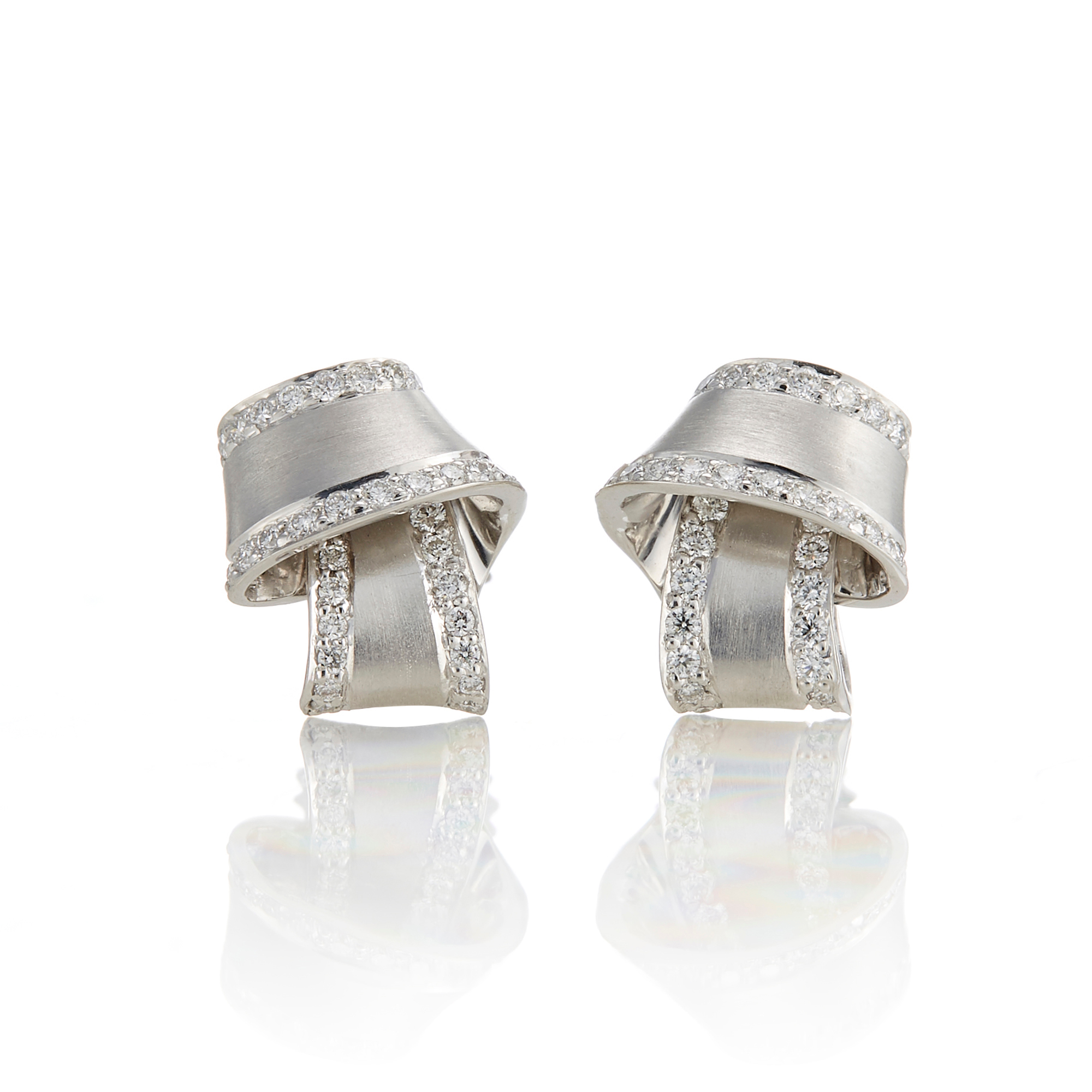 Carelle Pavé Diamond Trimmed White Gold Knot Studs