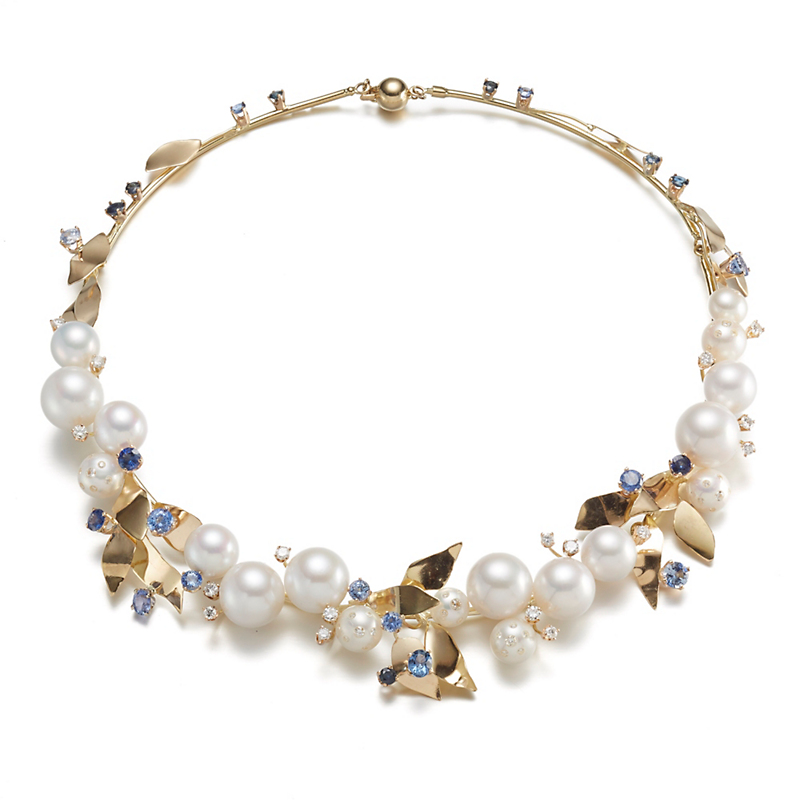 Russell Trusso Pearl & Sapphire Floral Necklace