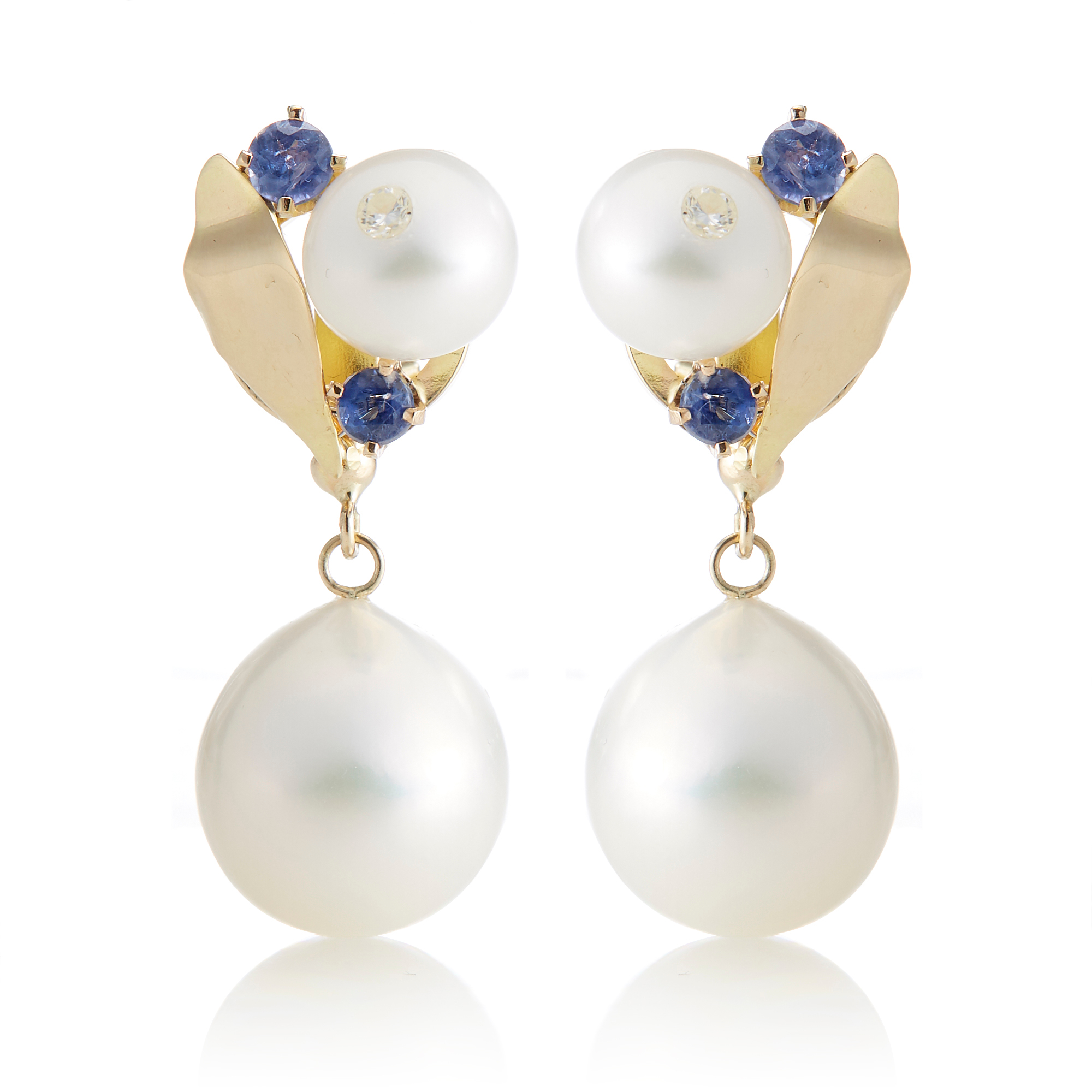 Russell Trusso Pearl & Sapphire Floral Drop Earrings