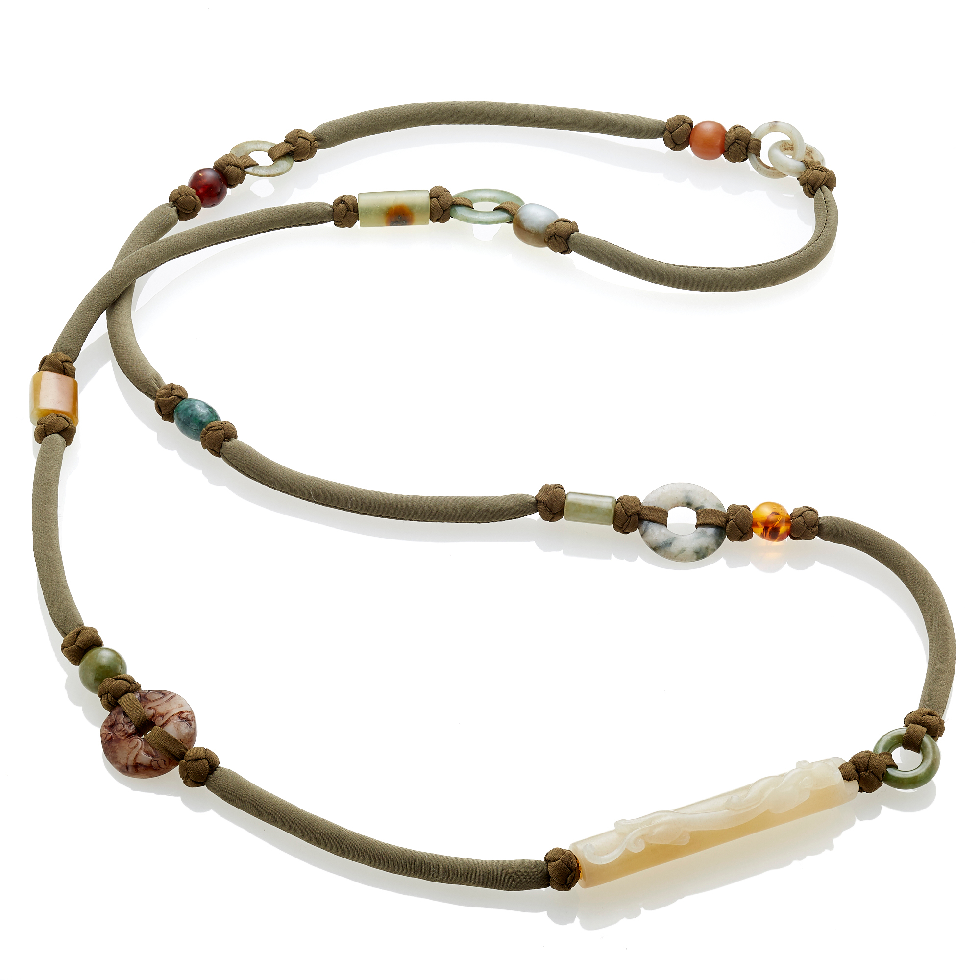 Pat Tseng Multi Shaped Jades, Serpentine And Amber Bead Necklace On Green Silk Cord