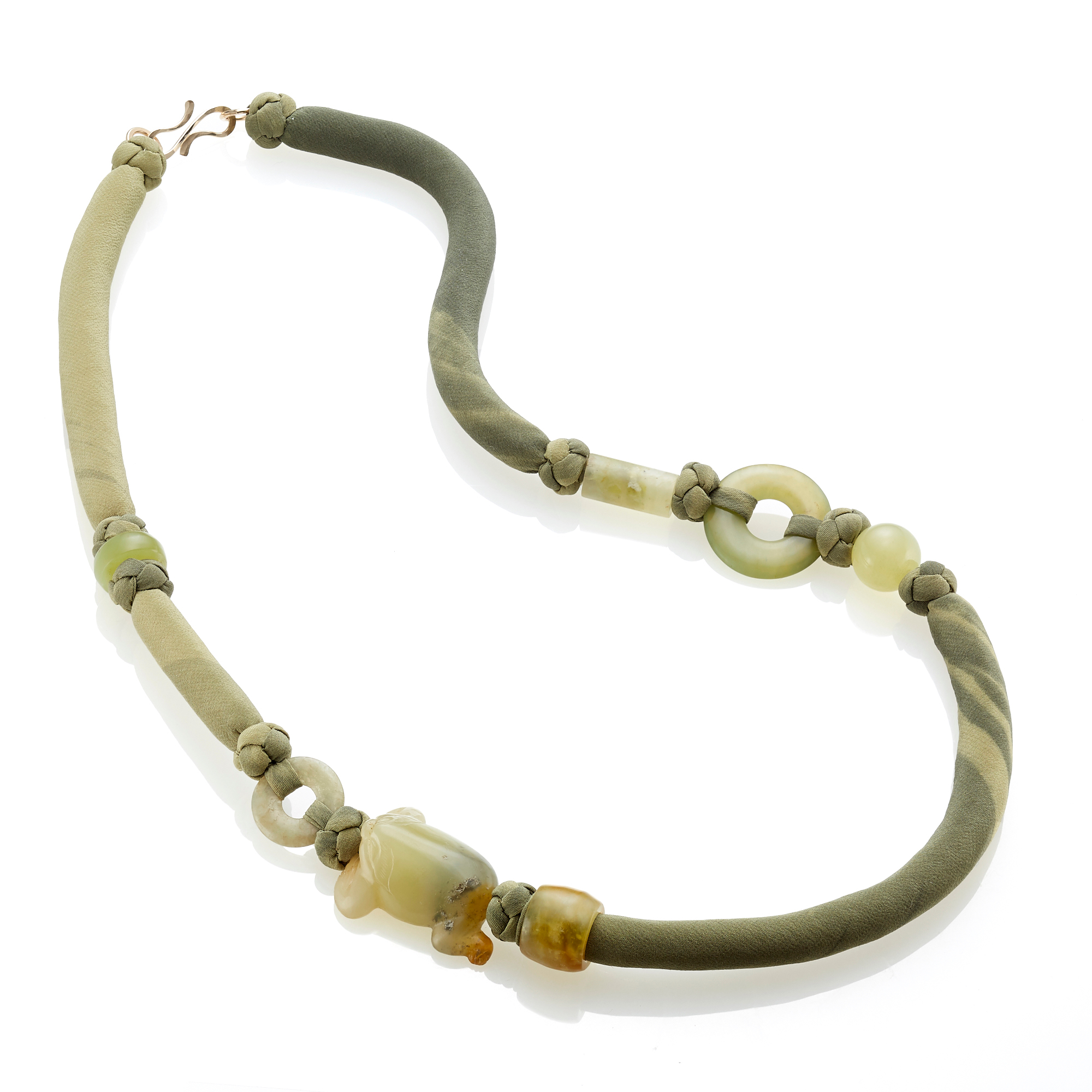 Pat Tseng Serpentine Frog Green Silk Cord Necklace