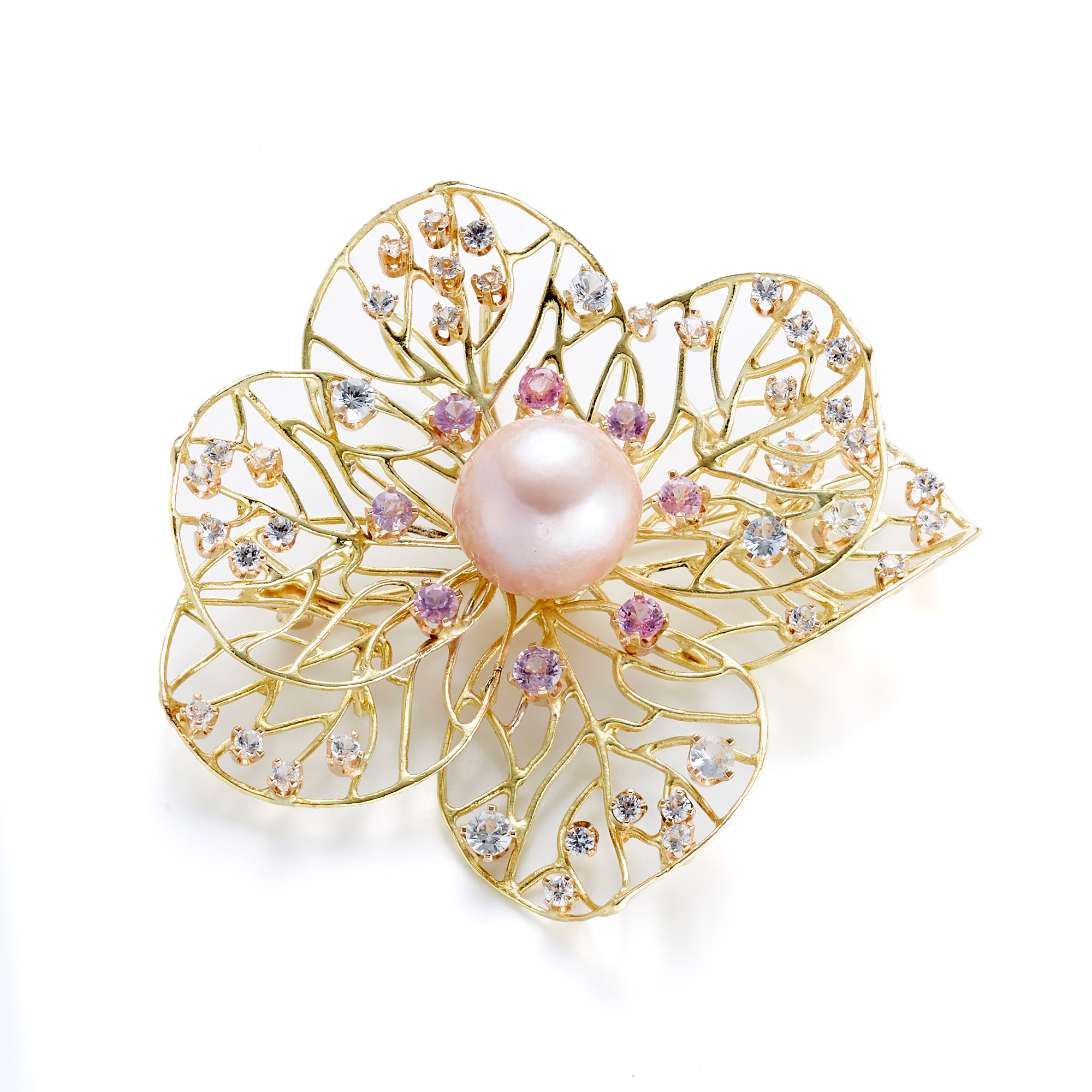 Russell Trusso Pink Pearl & Sapphire Openwork Flower Brooch