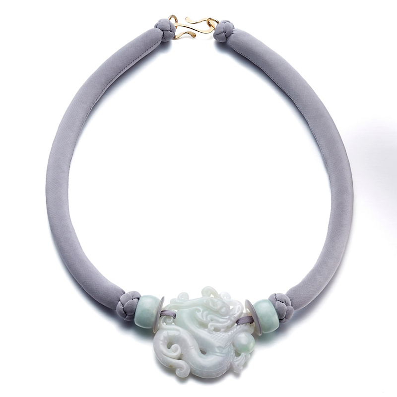 Pat Tseng Lavender Jade Dragon On Silk Cord