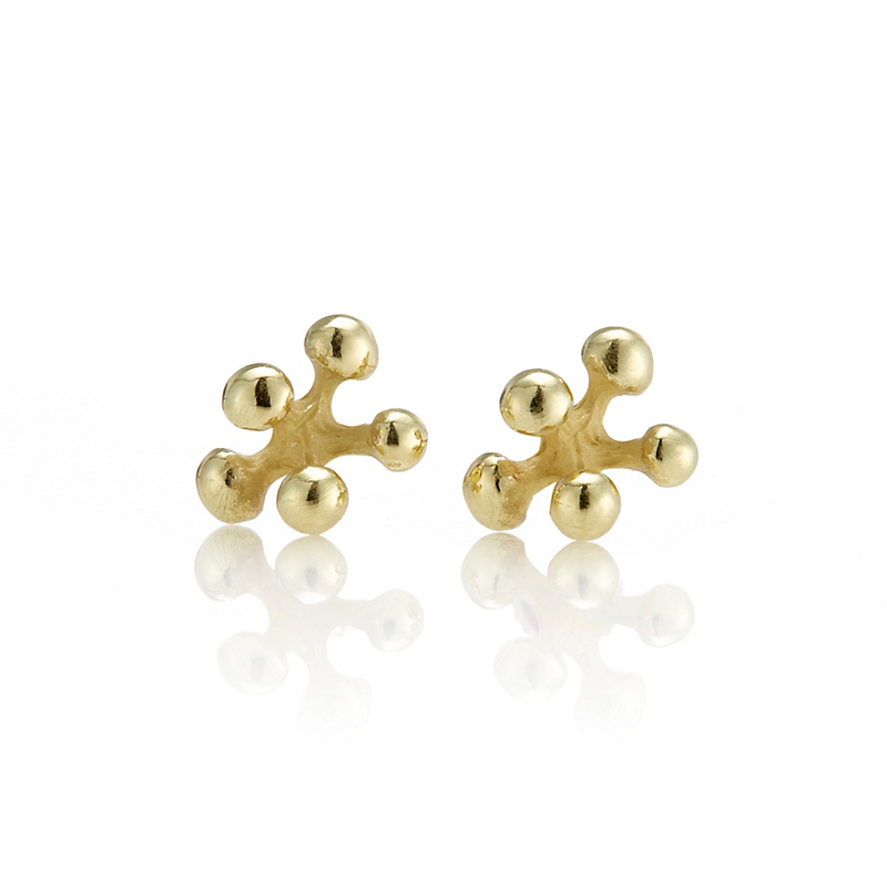 John Iversen Gold Baby Berry Stud Earrings