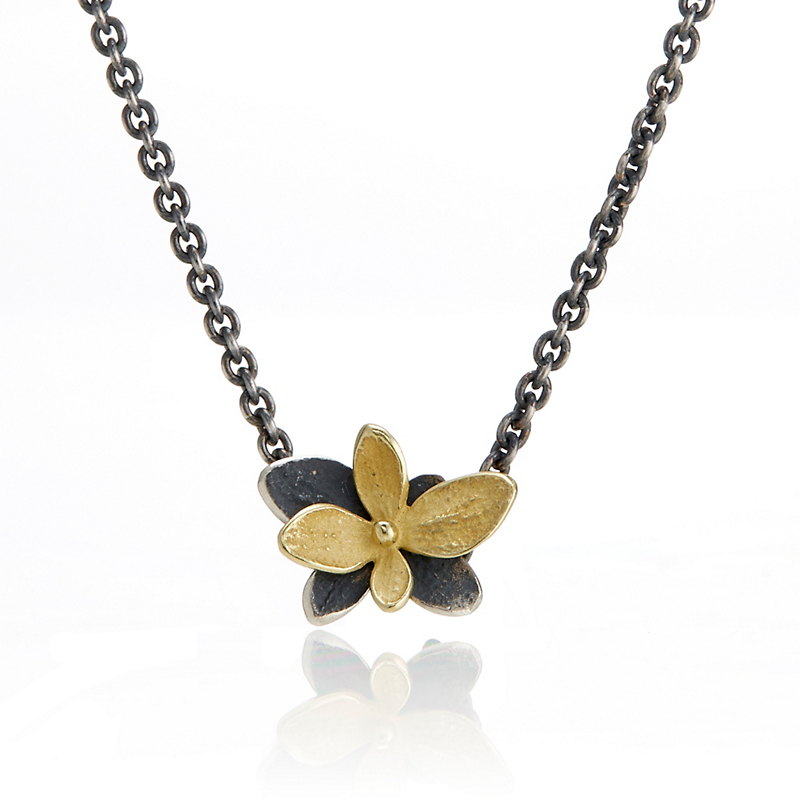 John Iversen Gold And Oxidized Sterling Silver Baby Hydrangea Pendant Necklace