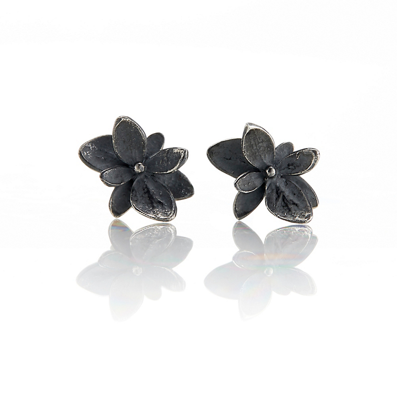John Iversen Oxidized Sterling Silver Baby Hydrangea Stud Earrings