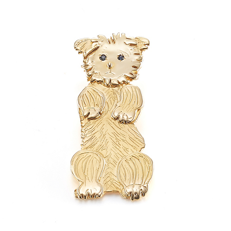 Mia Fonssagrives-Solow Gold Coaxing Yorkie Brooch
