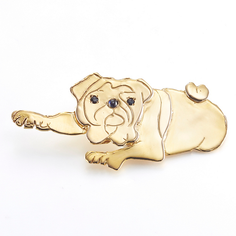 Mia Fonssagrives-Solow Polished Gold Pug Brooch