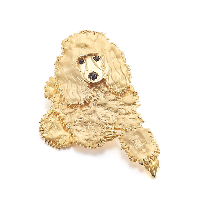 Mia Fonssagrives-Solow Gold Laying Poodle Brooch