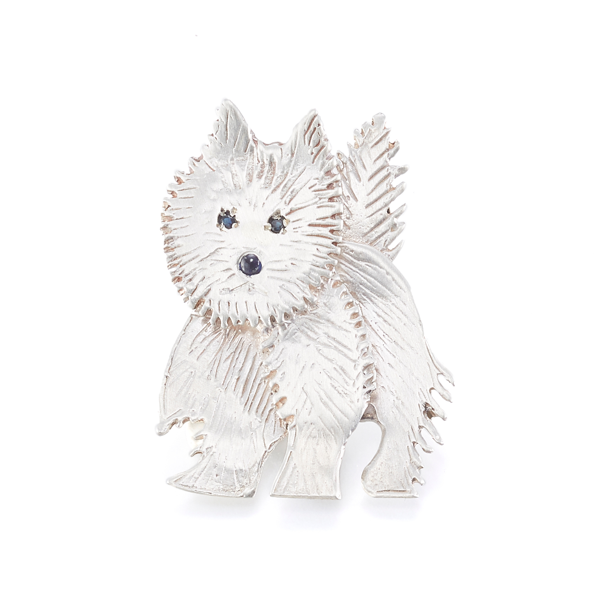 Mia Fonssagrives-Solow Gold Walking Silkie Terrier Brooch